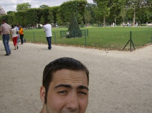 A failed selfie with the Eiffel Tower.